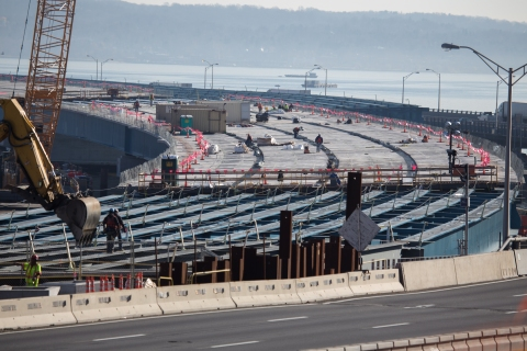 The new road deck taking shape near Rockland hints at what we'll be driving on./NYSTA
