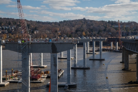 At eye level with cars are the nearly-finished piers for the Westchester approach./NYSTA