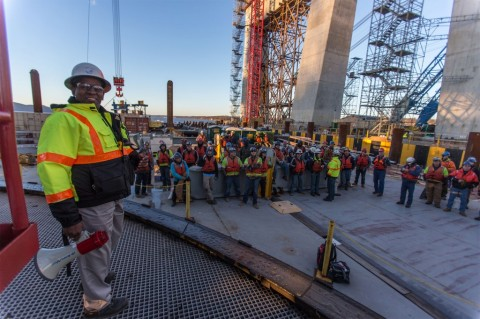 Cool photo of Safety Manager Daryl Lloyd w/construction crews on new main span/NYSTA