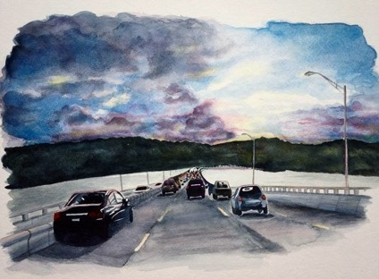 "The watercolor painting ""Coming home on the Tappan Zee"" /© Donna Davies Timm"