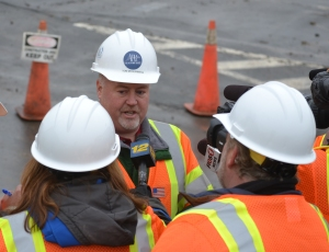 NYS Thruway Authority Construction Compliance Engineer Tom McGuinness details plans to reporters/NYSTA