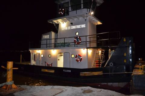 Tappan Zee Constructors' tugboat Pilgrim is courtesy Rockland County Sheriff's Office