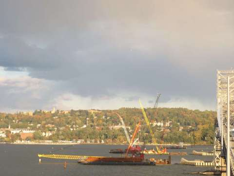 Pile installation for the new bridge began by Oct. 2013/EarthCam® construction camera