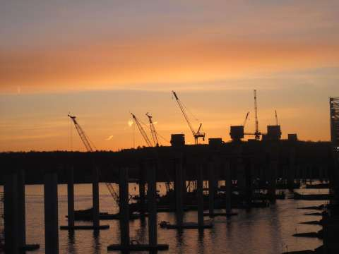 Fiery sunrise: a gorgeous backdrop for main span piers/EarthCam® construction camera