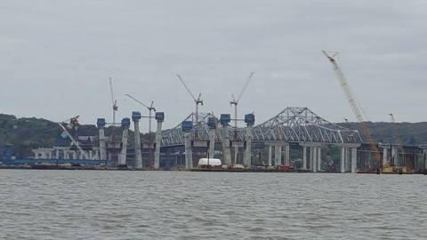 Interesting view: new bridge's piers, main span towers and current bridge/Matty Cuccio