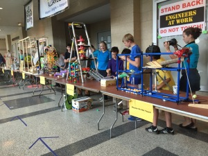 Rube Goldberg chain reaction machine components were engineered by 11 teams of six members each/Jill Bock