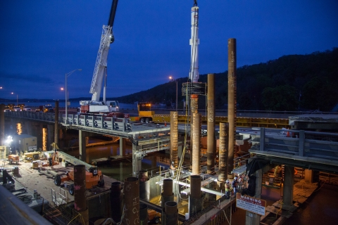 The project never sleeps: six 75-foot foundation piles were installed under the TZB/NYSTA