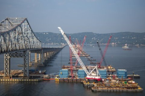 Eight months ago crews began building the main span towers via blue jump forms/NYSTA