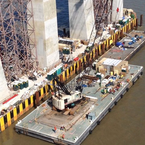 One of the bridge's two 360-feet long and 60-foot wide main span tower pile caps/NYSTA