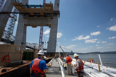 Stay cables that will support the main span roadway were installed and anchored/NYSTA