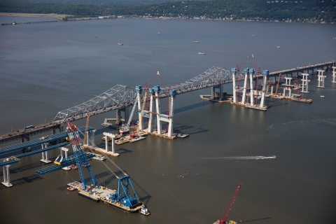 Super crane is placing structural steel (girders) near the Westchester shoreline/NYSTA